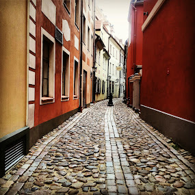 Oldstreet by Julija Moroza Broberg - City,  Street & Park  Street Scenes ( old, oldstreet, narrow, red, oldtown, ancient, colorful, architecture, town, wall, city )
