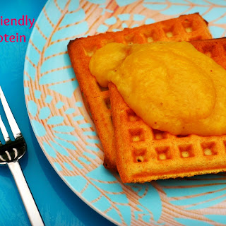 Paleo Friendly, Grain Free Coconut Flour Waffles with Mango Puree.