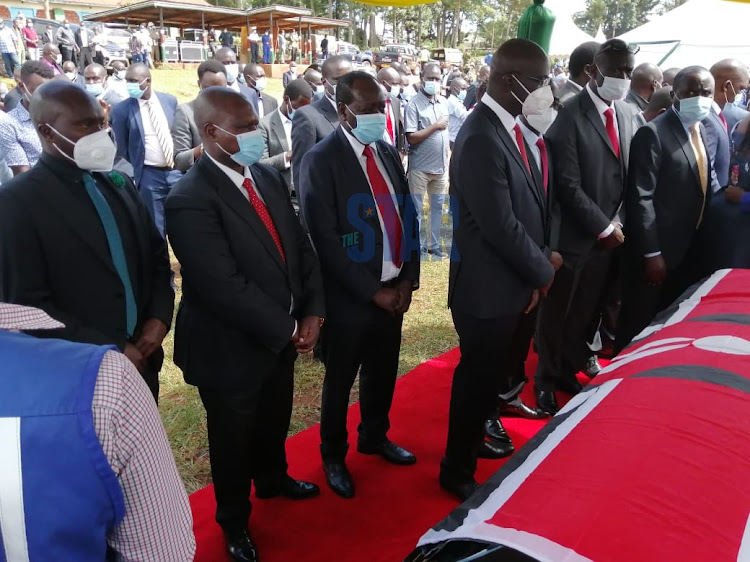 Governors pay their last respects to to their departed colleague at Nyamira Primary School grounds on December 24, 2020.