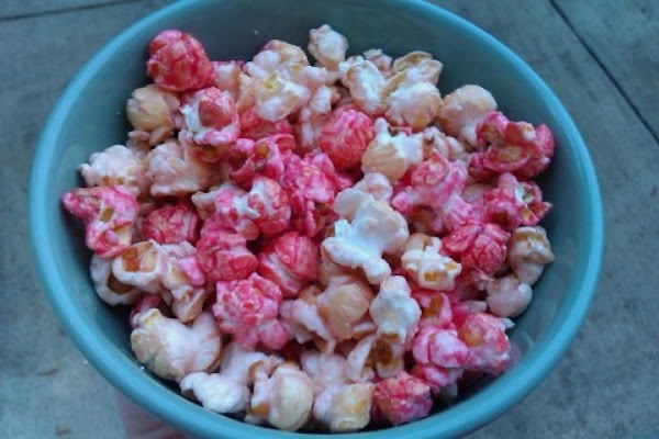 Note: to make it cherry chocolate popcorn:  Use cherry jello mix. when it is...
