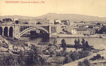 Photo: Ponte da Barca e fábrica de  madeiras Fonseca no outo lado do río. A fábrica tiña tamén unha chiminea para o distintos procesos do tratado da madeira.