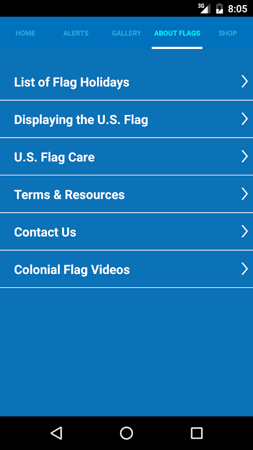 Colonial Flag App- screenshot