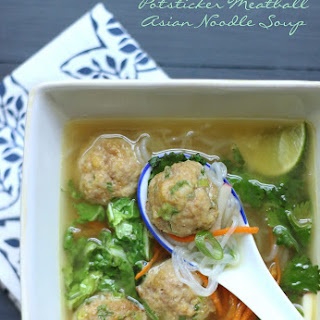 Potsticker Meatball Asian Noodle Soup – Low Carb & Gluten Free.