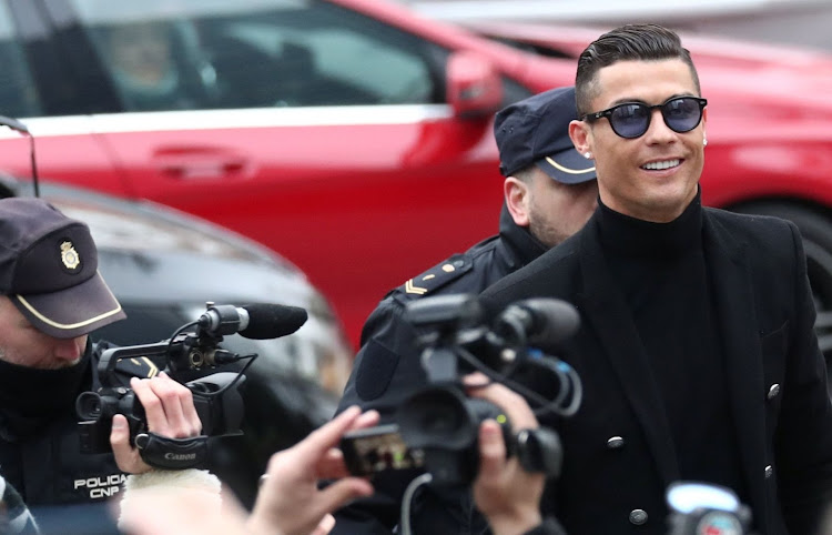 Portuguese soccer player Cristiano Ronaldo leaves after appearing in court on a trial for tax fraud in Madrid, Spain, on January 22 2019. Picture: REUTERS/SERGIO PEREZ