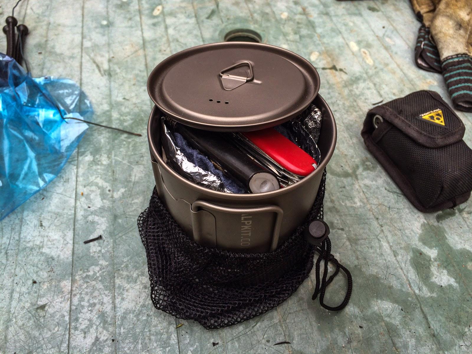 Photo: the whole kitchen packs away inside the 700ml ti pot