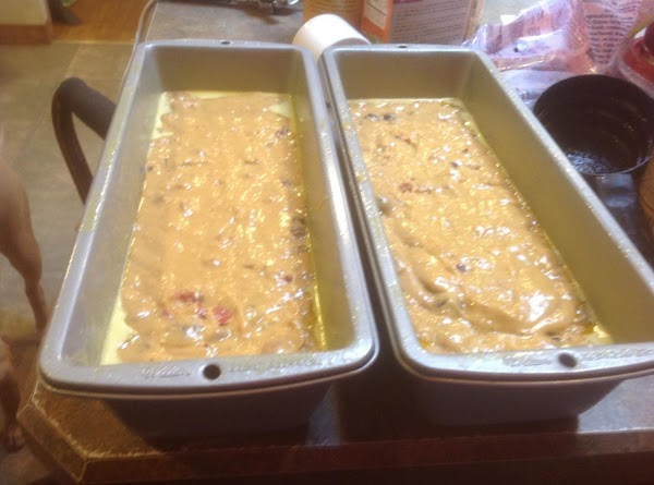 Evenly distribute the batter between the two loaf pans. Bake in preheated 350 degrees...