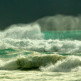 Rolling Waves by Brett Styles - Landscapes Waterscapes ( waves, green, ocean, crashing, sea,  )