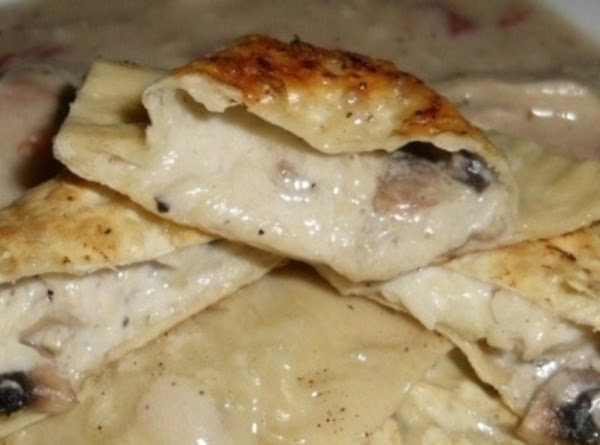 Asaigo And Mushroom Ravioli With A Tomato/chicken Cream Sauce (made With Healthier Choices) Recipe