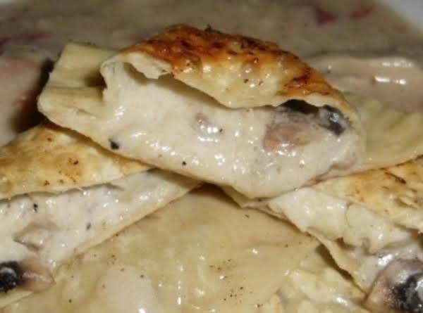 Asaigo And Mushroom Ravioli With A Tomato/chicken Cream Sauce (made With Healthier Choices)