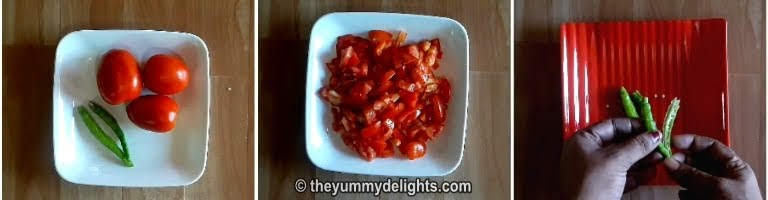Chop tomatoes and slit green chilies to make egg roast recipe