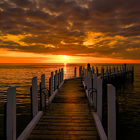 Pier to Sunset by Keith Walmsley - Buildings & Architecture Bridges & Suspended Structures ( water, clouds, sunser, australia, pier, victoria, landscape, golden hour )