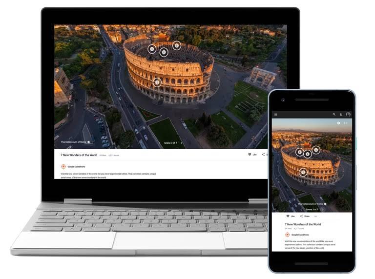 Chromebook dan telefon mudah alih memaparkan Tour Creator.