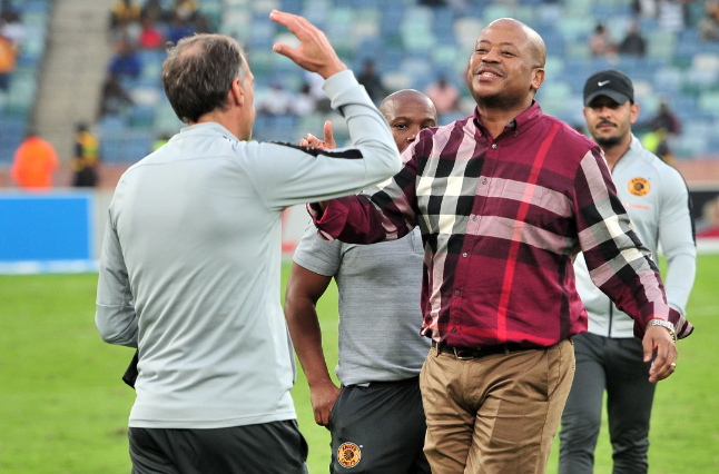 Kaizer Chiefs coach Giovanni Solinas celebrates with the club's football manager Bobby Motaung, after a 1-0 Telkom Knockout quarterfinal win over SuperSport United at Moses Mabhida Stadium in Durban on Sunday November 5, 2018.
