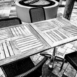 Tables & Cheers by Carlo McCoy - Instagram & Mobile Android ( black & white, wicker, flooring, business, arizona, black and white photography, outdoor photography, black, squares, casino, circles, no color photos, outdoor, tables, round, shapes, tile, chairs, geometry, fire pit,  )