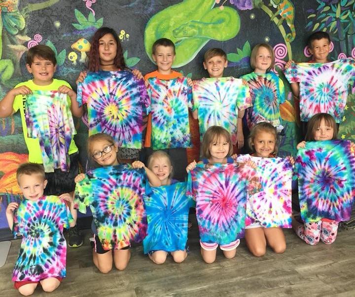Tye-Dyed Iguana summer camp t-shirts