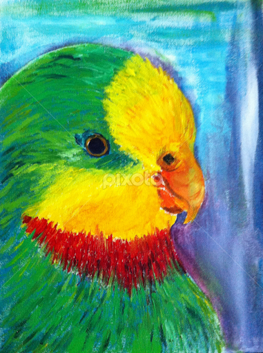 Green parrot painting - photo#11