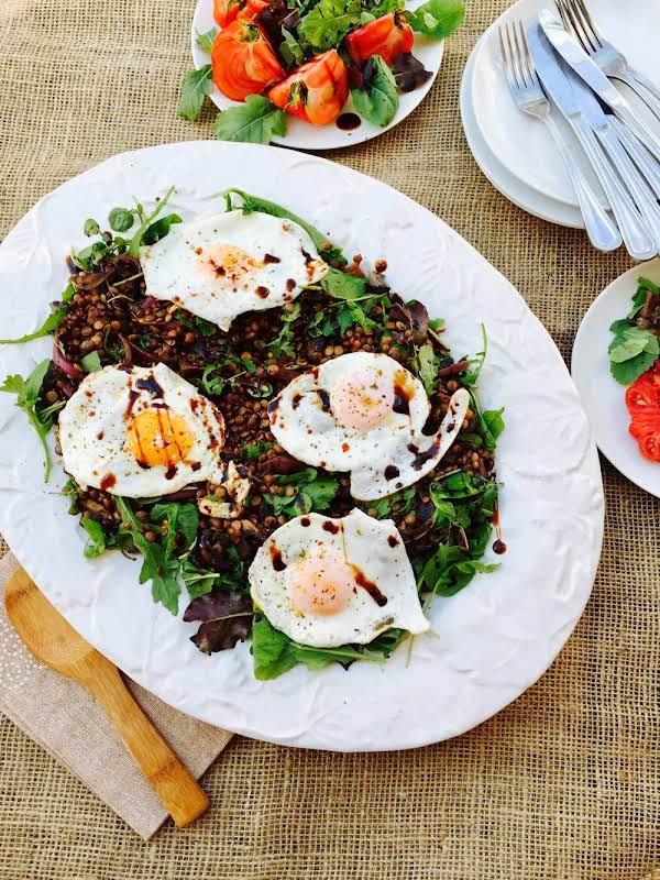 Brown And Green Lentils With  Hearty Salad Recipe