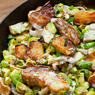 Pan-Roasted Brussels Sprouts, Oyster Mushrooms and Sunchokes with Creamy Meyer Lemon Vinaigrette