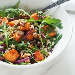 Sweet Potato Quinoa Salad with Walnuts and Raisins.