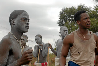 A scene from the South African movie 'Inxeba' (The Wound), which is described as being a love story involving two men.