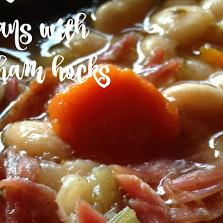 Slow Cooker White Beans with Smoked Ham Hocks.