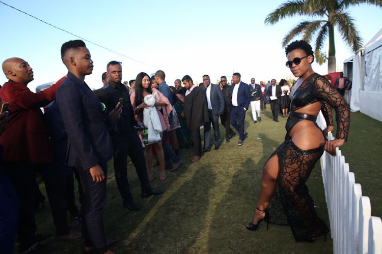 Zodwa Wabantu showing off her assets at the Durban July.