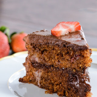 Strawberry Cake with Chocolate Frosting.