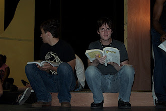 Photo: Kevin and PJ diligently studying scripts