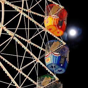 Night Ride by Howard Ferrier - City,  Street & Park  Amusement Parks ( curve, moon, queensland, amusement park, brisbane, astronomy, panorama, shapes, brisbane show, colours, rna showgrounds, sky, brisbane ekka, amusement, event, australia, brisbane exhibition, showgrounds, fortitude valley, dark, night, ferris wheel, lights, fairground, funfair,  )