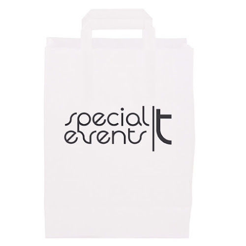 Printed Paper Bags with Short Handles Dark Blue