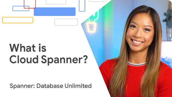 """Woman in red smiles at camera with presentation cover slide """"What is Cloud Spanner? Spanner: Database Unlimited"""""""