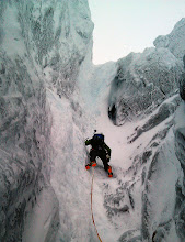 """Photo: Andy Owen leads """"Point Five Gully"""", V, on Ben Nevis. Immense."""