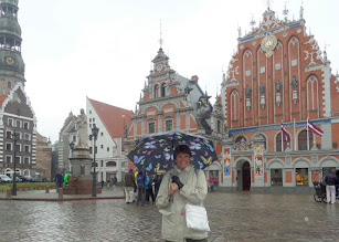 Photo: I am in the Town Hall Square of Riga, the capital of Latvia and the largest city in the Baltic. Their old town is a UNESCO site.