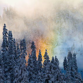by Nolan Hauke - Landscapes Weather ( clouds, skiing, mountain, winter, cold, snow, rainbow )