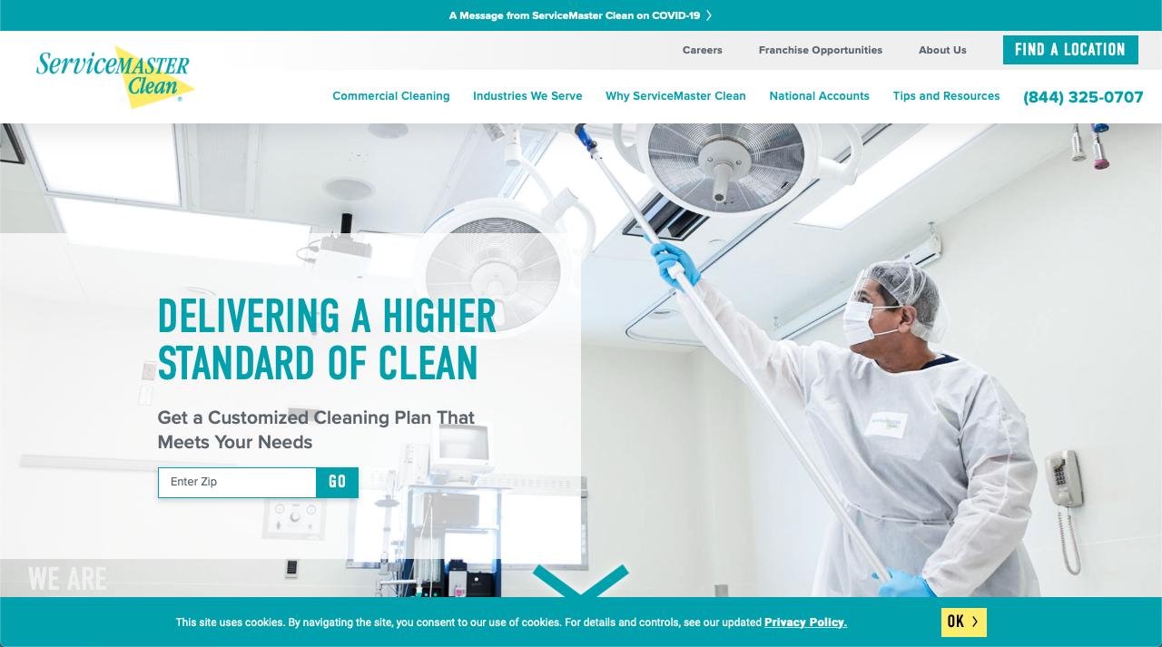 Service Master restoration franchise website homepage