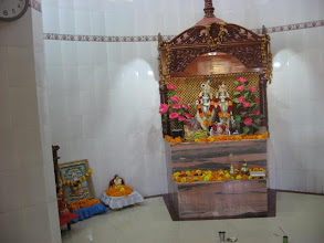 Photo: The Bigrahas of Radha and Krishna with a little Bigraha of Prabhusundar and a framed picture of Baba Lokenath (on the side) both worshipped daily with Radha Krishna - built privately in the village of Brahmankanda at a short walking distance from Brahmankanda Angina of Prabhusundar.