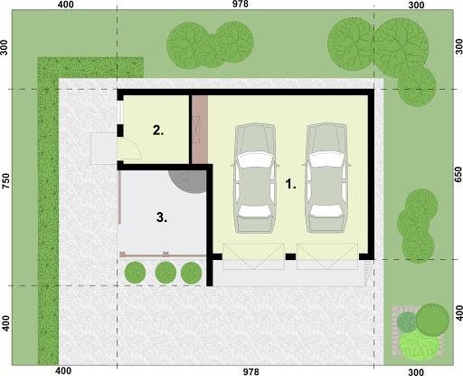 G255 garaż dwustanowiskowy z pomieszczeniem gospodarczym i altaną szkielet drewniany - Rzut garażu