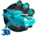 3D Blue Space Car Theme