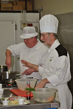 Photo: Robert stirs the sugar for the Italian meringue.