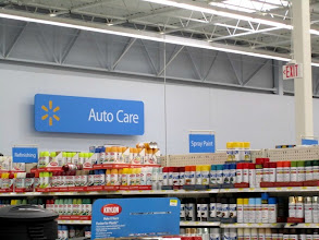 Photo: First, I located the Auto Care section in my local Walmart - an easily visible sign in the back corner of the store.