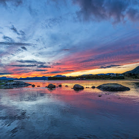 Sunset at sea by Benny Høynes - Landscapes Sunsets & Sunrises ( landscapes, sunlight, waterscape, sunset, water, sea, colors )