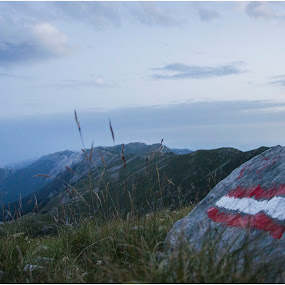 View from the top by Darko Žgela - Landscapes Mountains & Hills ( sign, hill, mountain, stone, view )