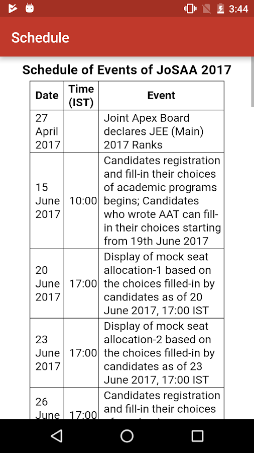 NIT - JoSAA Admission 2017- screenshot