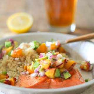Grilled Salmon with Grilled Peach and Avocado Salsa.