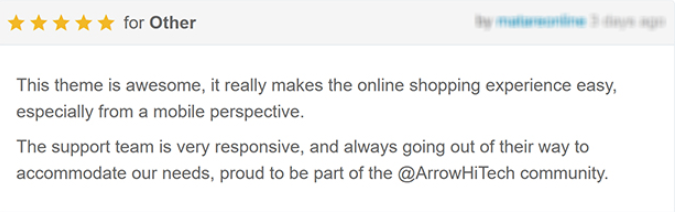 feedback Ecommerce website theme: