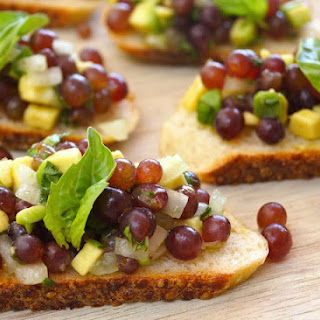 Champagne Grape-Avocado Bruschetta