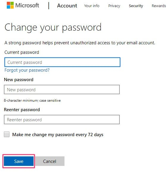 """Step 4:  Enter current password and enter new password, re-enter the same.Hit """"Save""""."""
