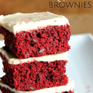 Red Velvet Brownies with White Chocolate Buttercream.