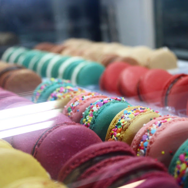 A dozen flavors of French Macarons ( all gluten friendiy ) available every day.