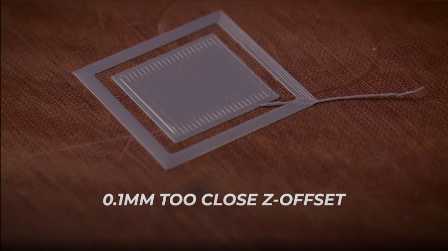 A calibration 3D print with the Z-Offset set approximately 0.1mm too close.